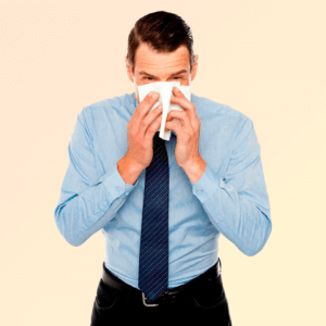 Man with runny nose